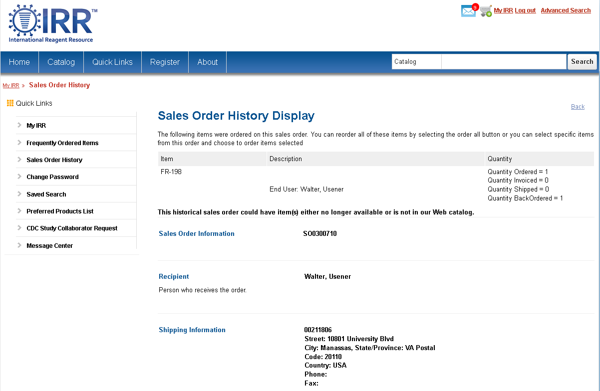 Sales Order History Page Screenshot